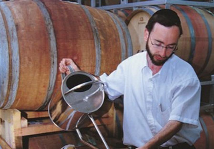 Relgious man making wine