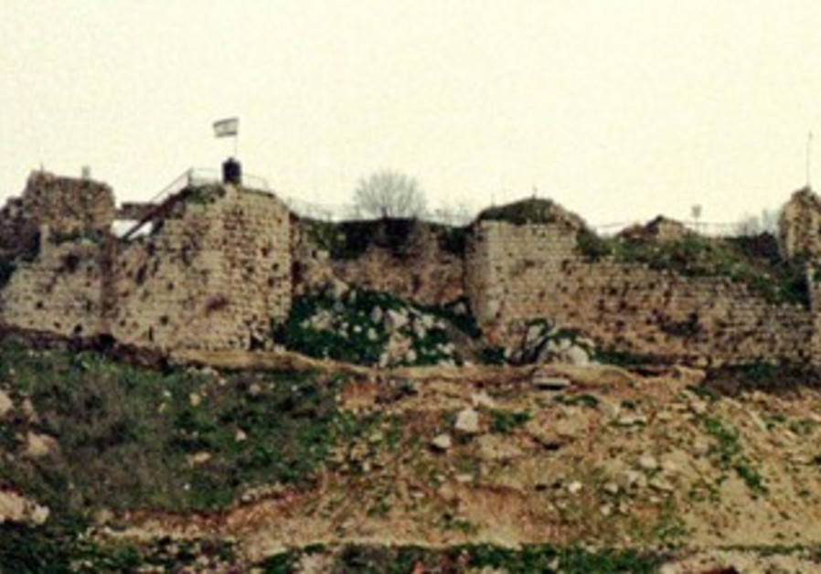 Israeli flag on Crusader-era castle of Beaufort