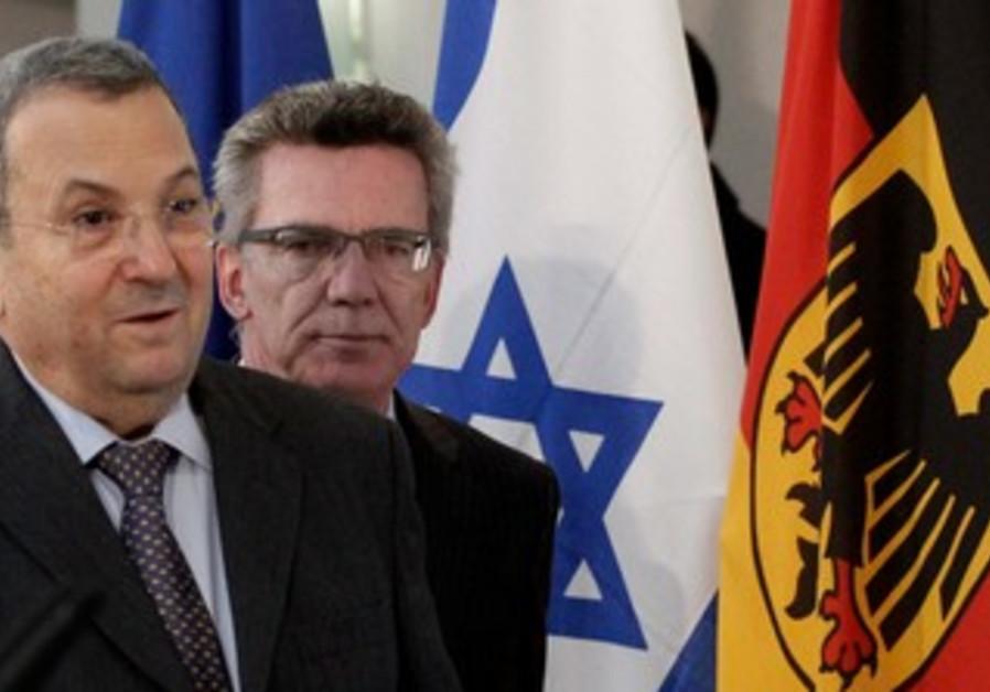 Barak meets German Defense Minister de Maiziere