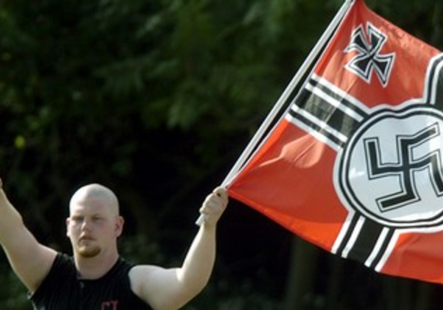 Neo-Nazi man giving Hitler salute