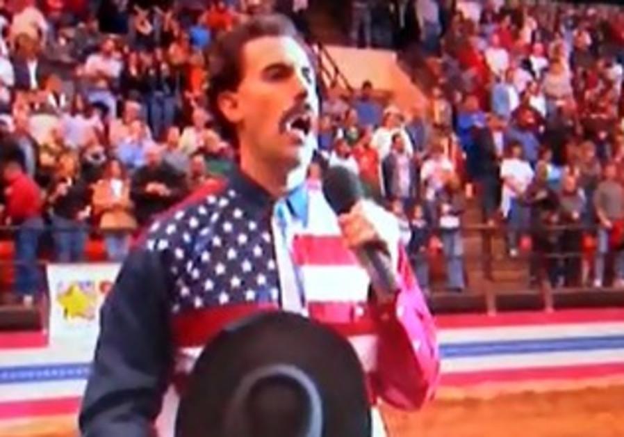 Borat singing fake Kazakhstan national anthem