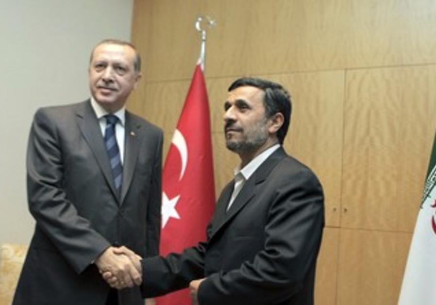 Ahmadinejad with Turkish PM Erdogan [file]