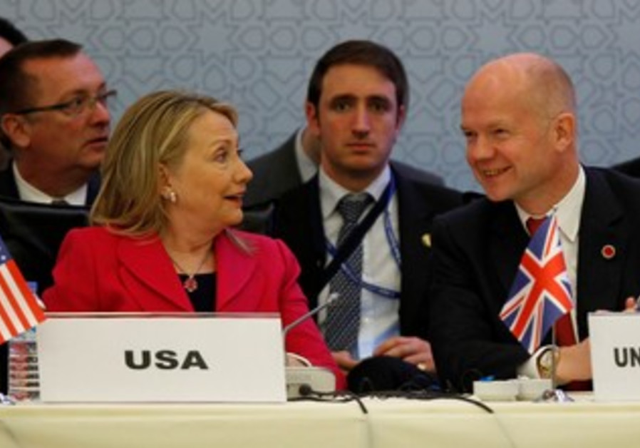 "Clinton and Hague at ""Friends of Syria"" meeting."
