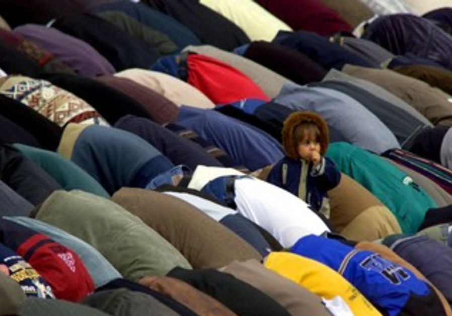 Muslims pray at Shihab a-Din mosque in Nazareth