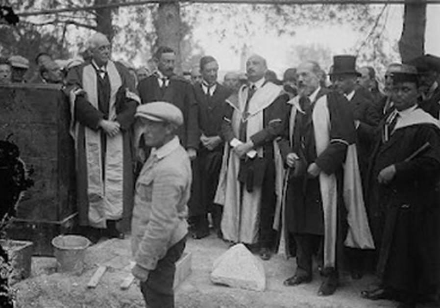 Balfour lays the Hebrew University foundation ston