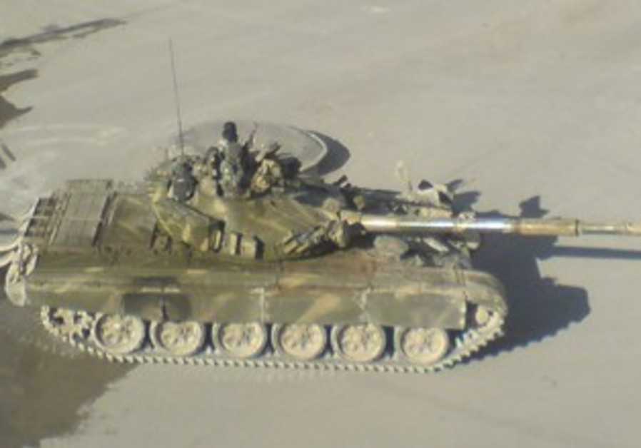 Syrian army tank is seen in Yabroud near Damascus