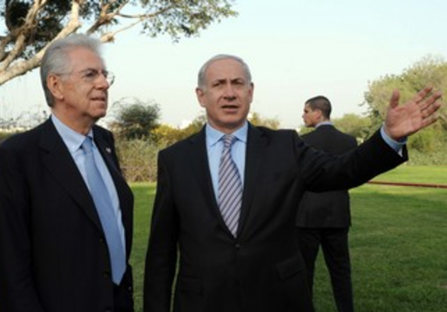 Netanyahu with Italian counterpart Monti