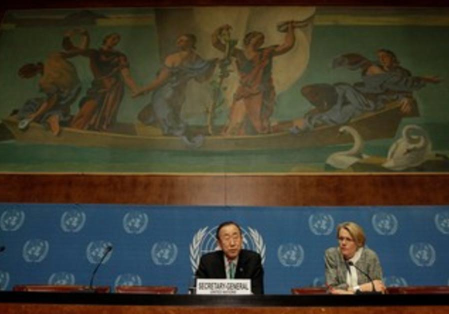 Ban Ki-moon, Corinne Momal-Vanian at UN in Geneva