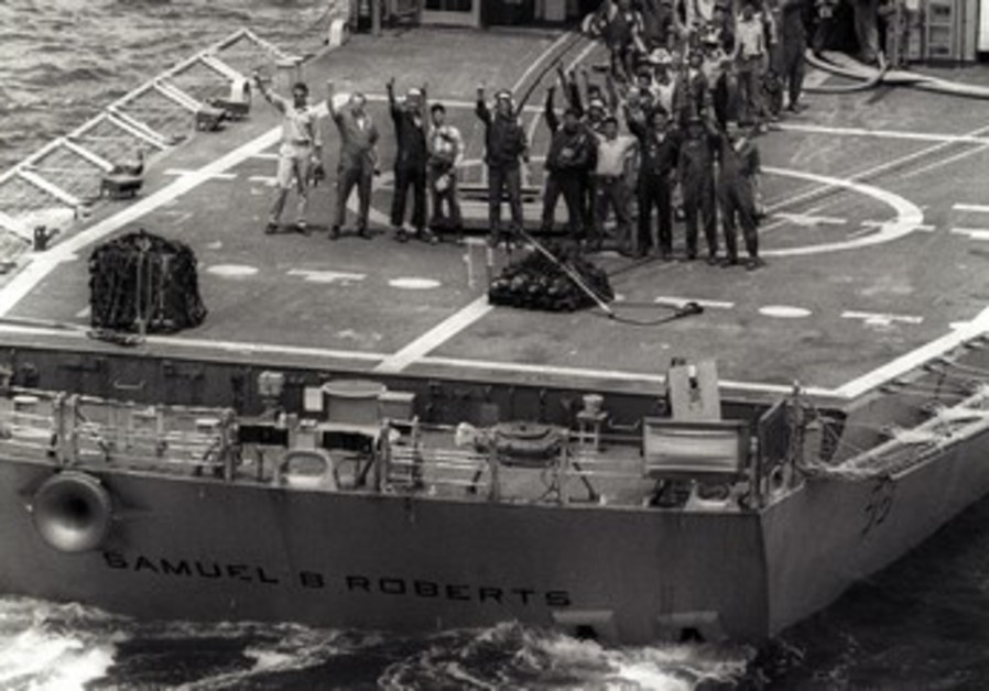 US seamen aboard the USS Samuel B. Roberts