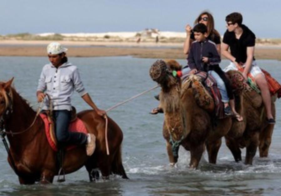 Tourists ride a camel in Djerba, Tunisia