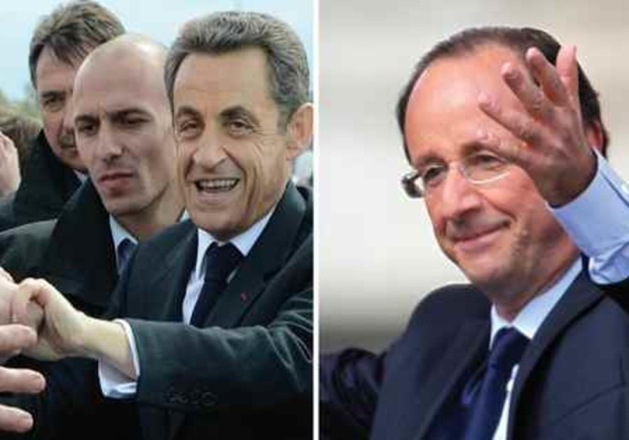 Nicolas Sarkozy et François Hollande, candidats à