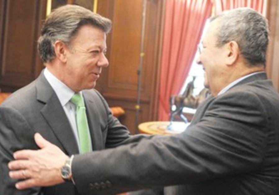 Barak with Colombian President Santos