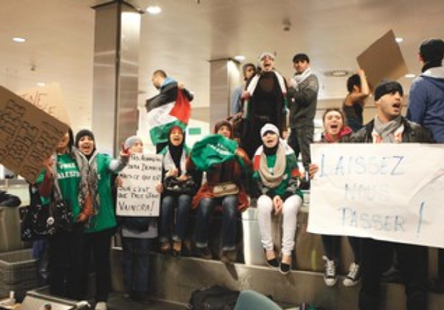 Pro-Palestinian activists at Brussels airport