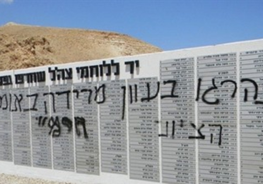 defaced Jordan war memorial