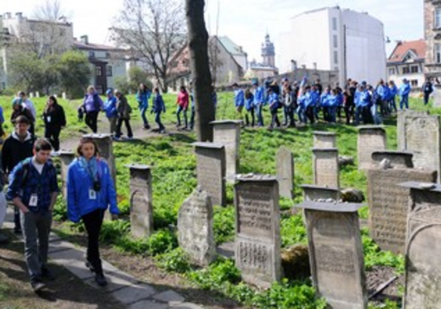 March of the Living in Polish cemetery