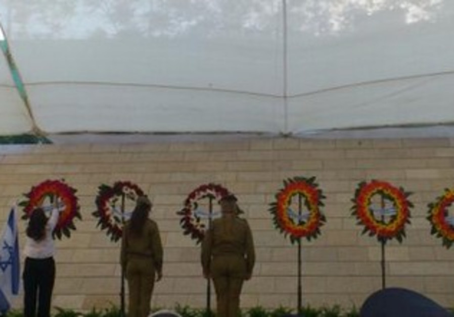 A wreath is laid in honor of IDF widows