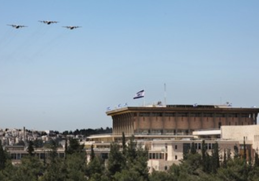 IAF planes over Knesset in J'lem, Independence Day