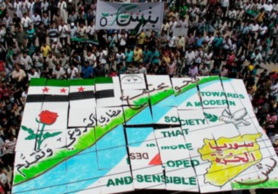Demonstrators against Syrian President Assad