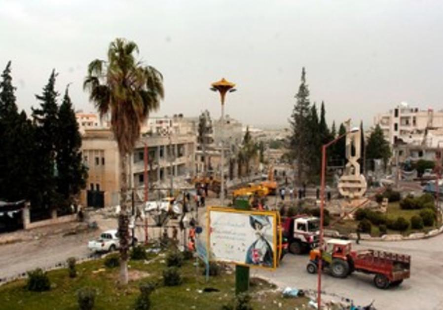 Site of bomb blast in Syria's Idlib