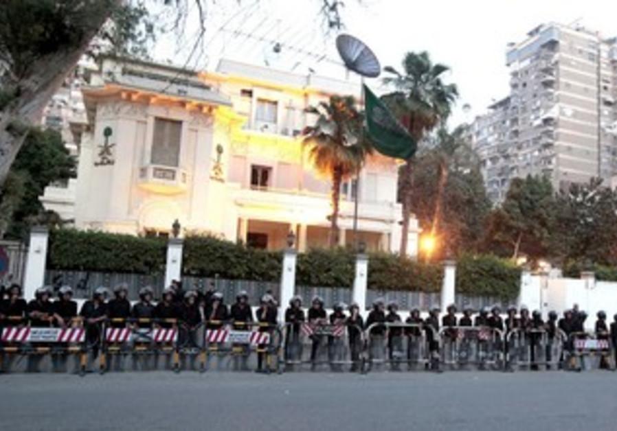 Soldiers  guard Saudi embassy in Cairo
