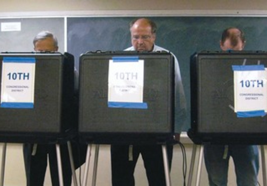 US voters at a polling station in the US