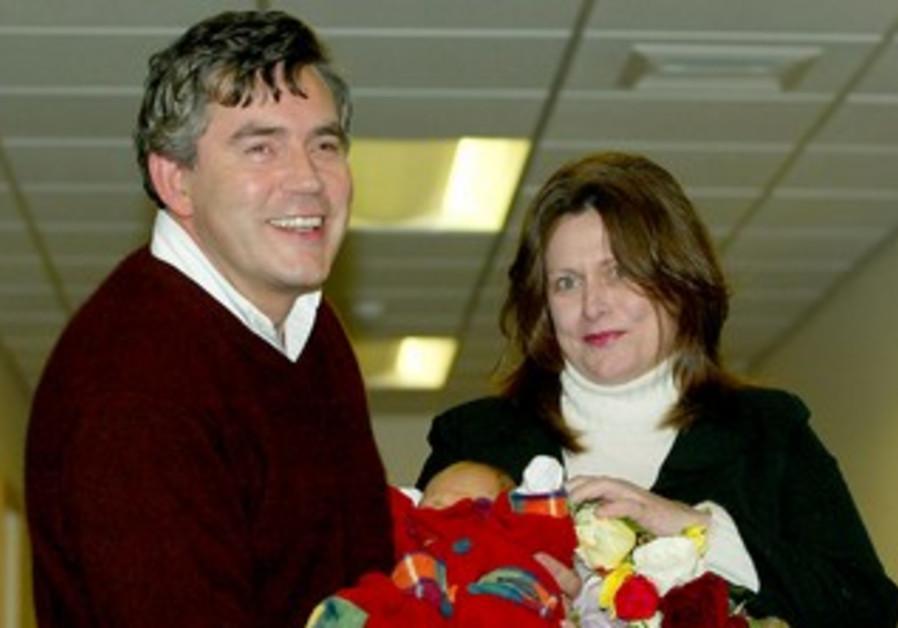 Gordon Brown with newborn son in 2003
