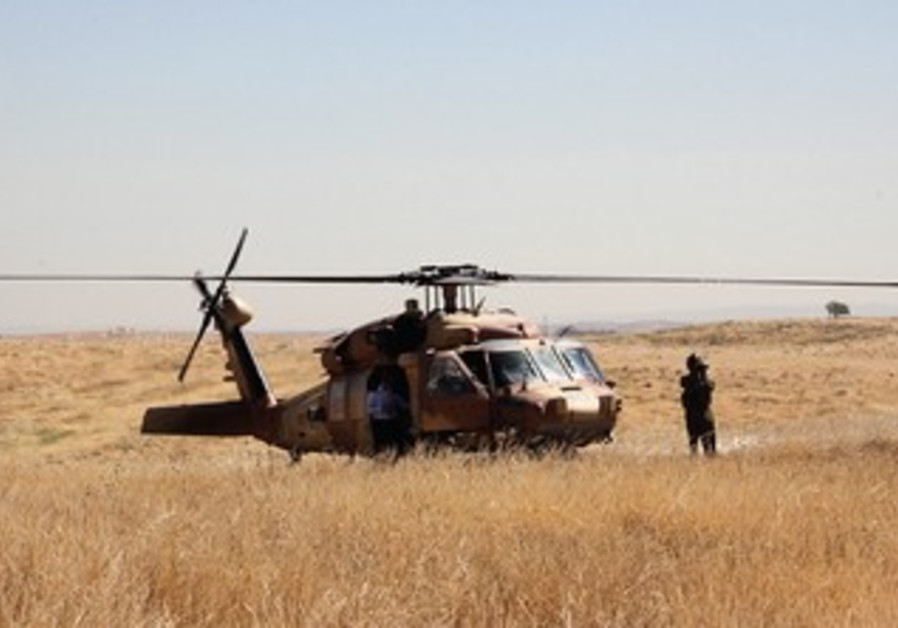 An IDF helicopter in the Negev