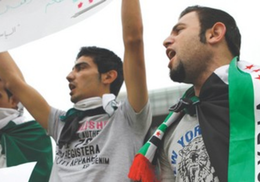 Syrian Kurds wearing Syrian opposition flags