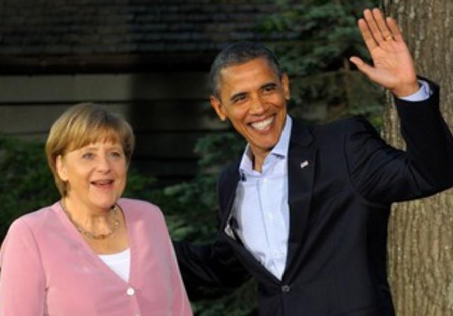Obama greets Merkel at G8