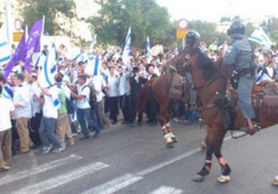 Horses, marchers on Jerusalem Day