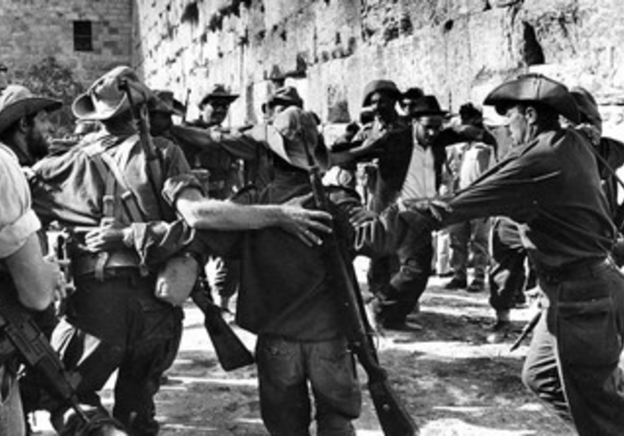 IDF soldiers celebrate at the Western Wall in 1967