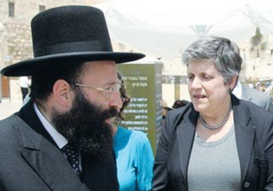 Napolitano speaks Western Wall Rabbi Shmuel Rabino