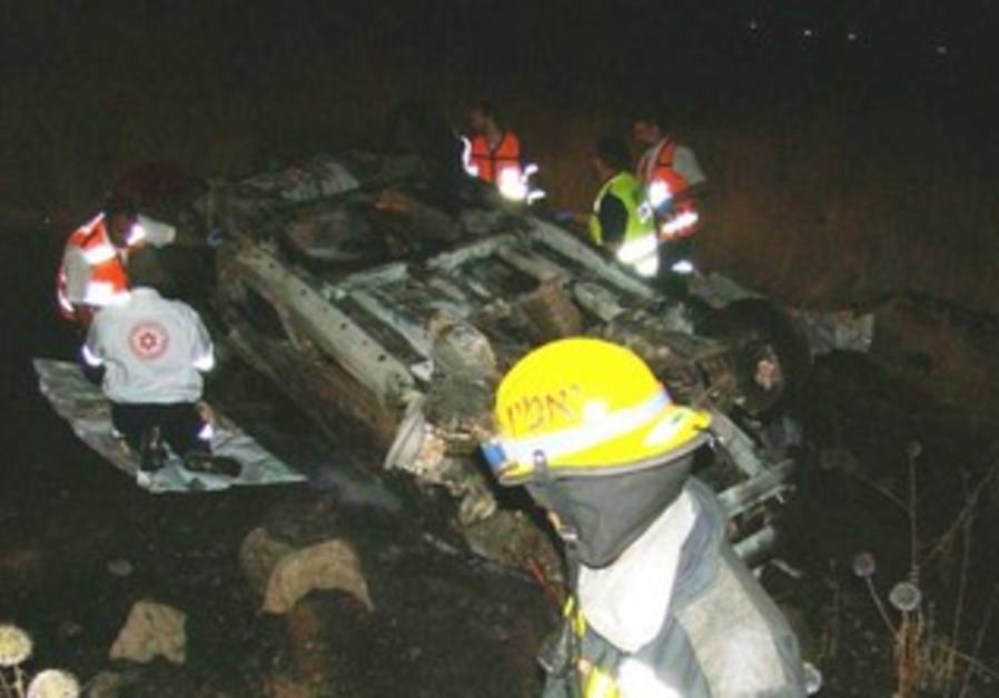 Scene of deadly car accident near Tiberias