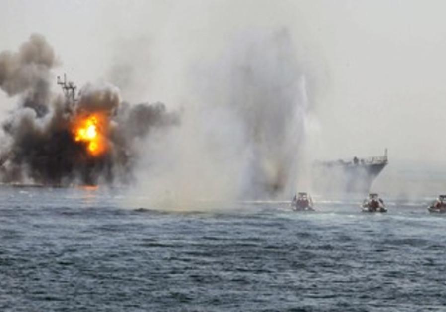 Iranian warship, speed boats in Hormuz war game