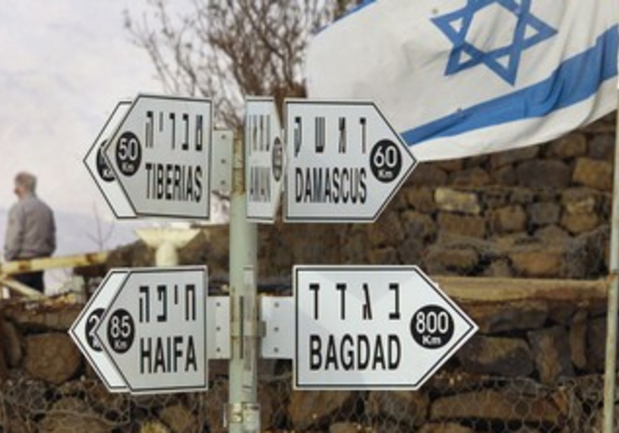 Signposts atop the Golan Heights
