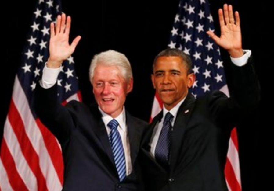 Bill Clinton and Barack Obama at fundraiser