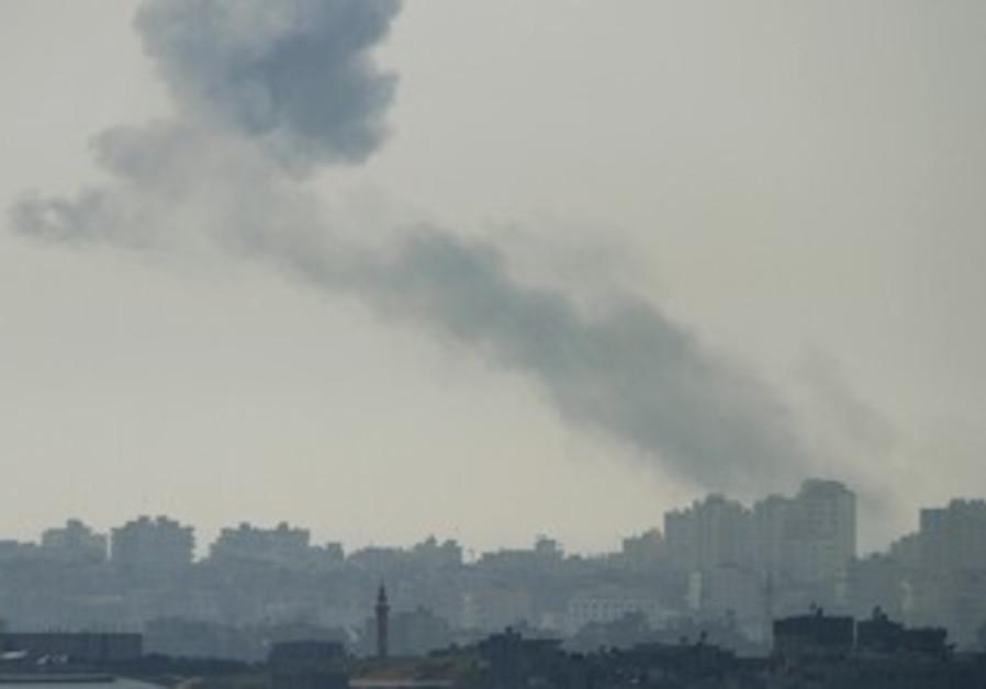 Smoke rises in Gaza