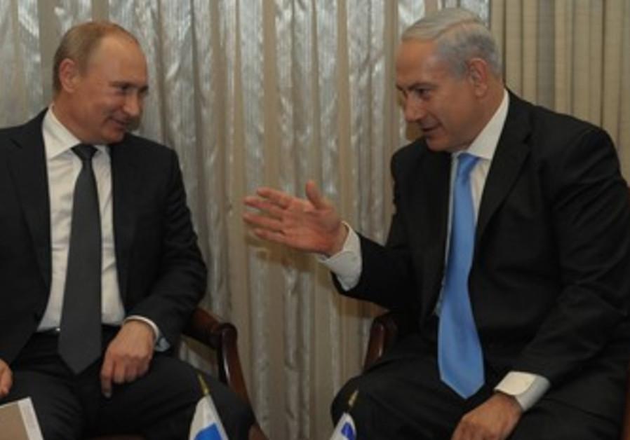 Vladimir Putin meets with Binyamin Netanyahu.