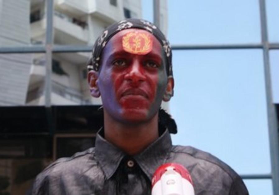 Eritrean demonstrator at rally [file]