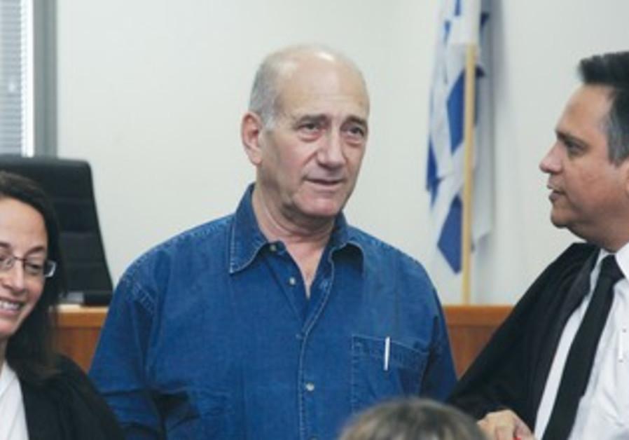 FORMER PRIME MINISTER Ehud Olmert in court