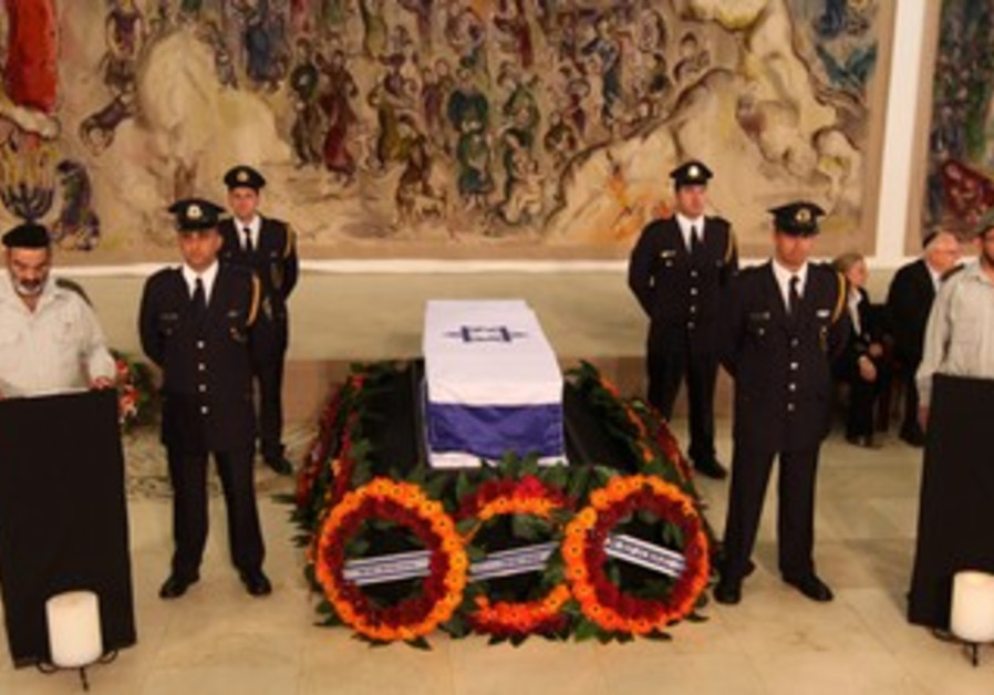 Late PM Yitzhak Shamir's coffin at the Knesset
