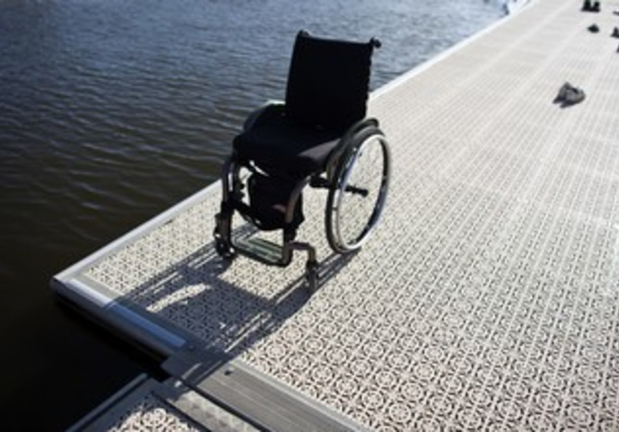 A wheelchair at Tel Aviv's Yarkon River