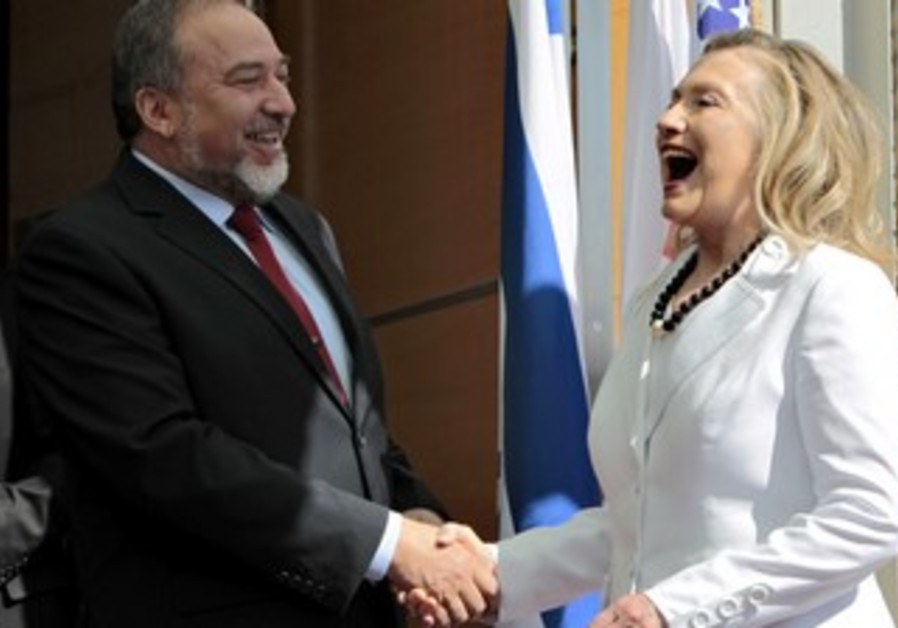 Liberman greets visiting US Sec. of State Clinton