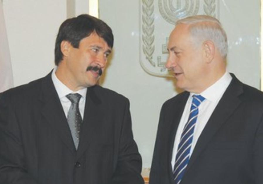 HUNGARIAN PRESIDENT Janos Adler meets Netanyahu