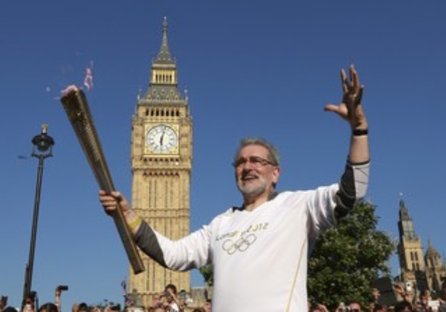 Olympic torch in front of Big Ben