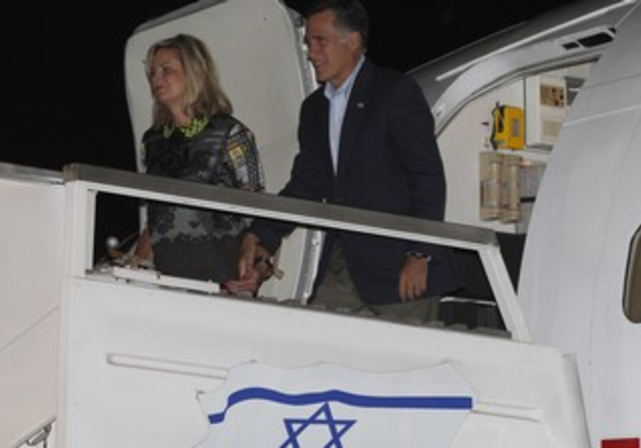 Mitt and Ann Romney arrive at Ben Gurion Airport