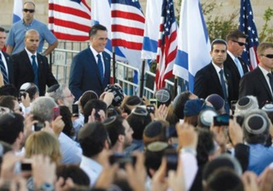 Romney arrives to deliver speech in J'lem