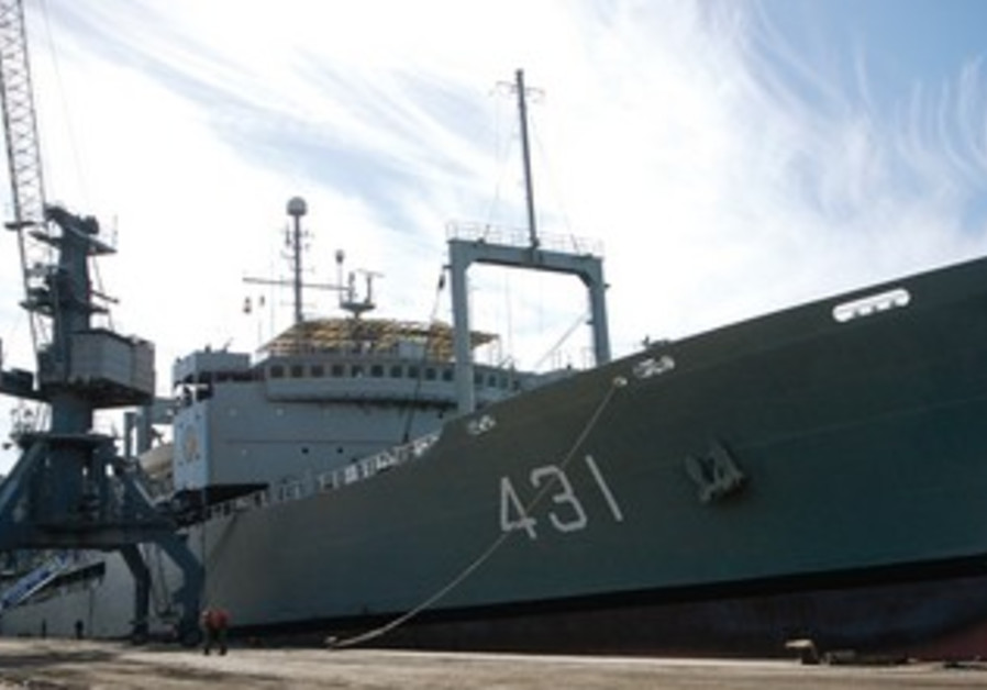 AN IRANIAN warship is pictured at a dock in Syria