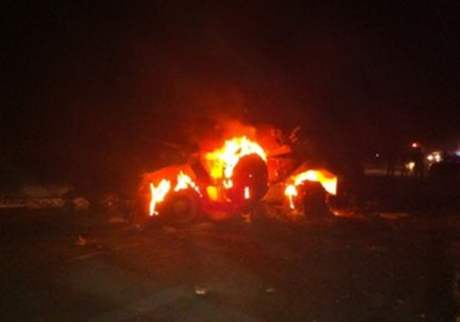 Vehicle which exploded on Egypt-Israel border