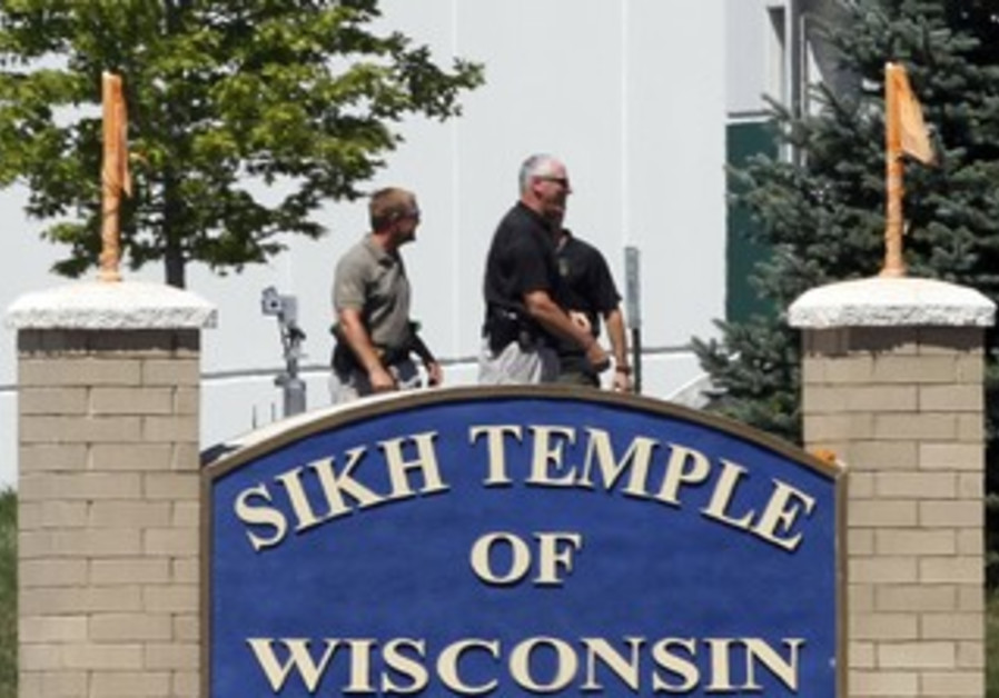 Officials gather near Wisconsin Sikh Temple